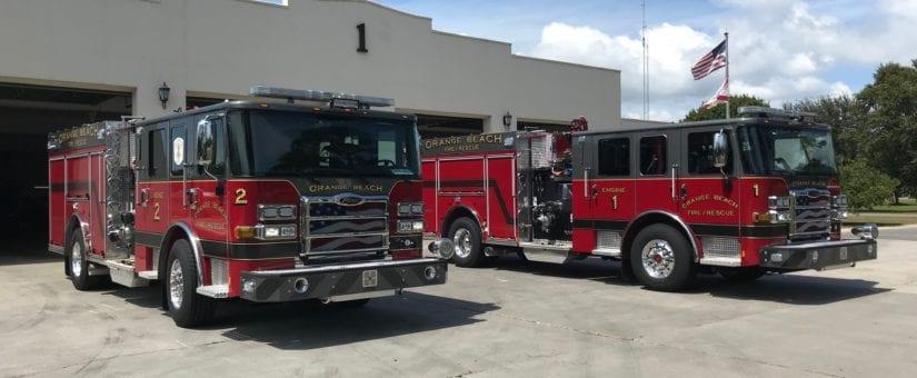 2 Pierce Enforcer Pumpers to Orange Beach Fire Department